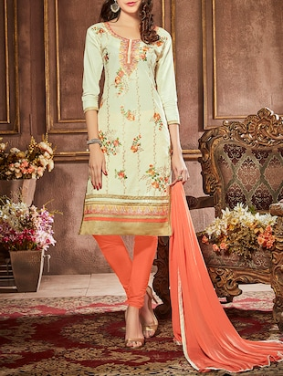 cream cotton embroidered churidaar suit dress material