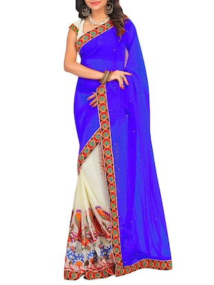 blue georgette embroidered half and half saree