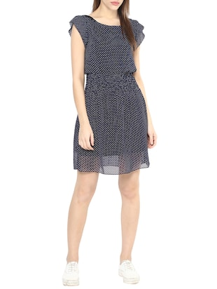 navy blue georgette blouson dress