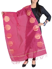 Pink Banarasi Dupatta With Zari Weaving - By