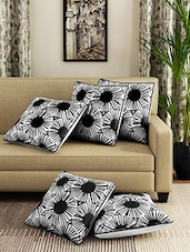 Romee Cotton Floral Printed Set Of 5 Cushion Cover - By