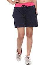 navy blue cotton sports shorts -  online shopping for Shorts