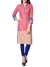 Pink Cotton Blend Colour Block Straight Kurta - By