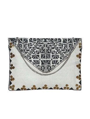 White cotton regular clutch