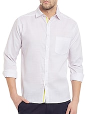 white cotton blend casual shirt -  online shopping for casual shirts