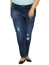 dark blue distressed denim jean -  online shopping for Jeans
