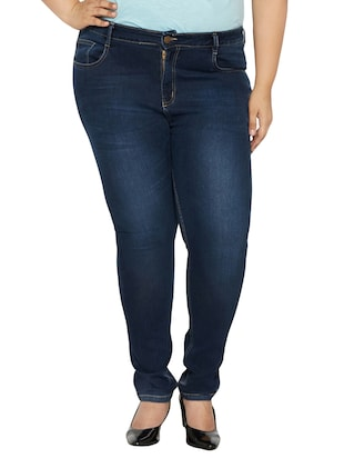dark blue mid-rise denim jean -  online shopping for Jeans