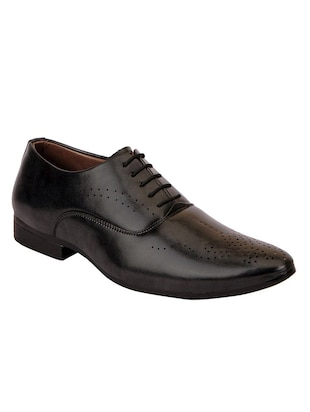 black faux leather laceup oxfords -  online shopping for Oxfords