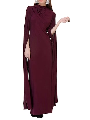 maroon satin maxi dress
