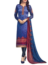 blue crepe printed churidaar suit dress material -  online shopping for Dress Material