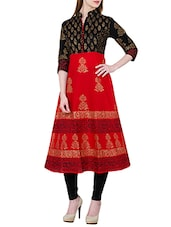 Red Cotton Block Printed A-line Kurta - By