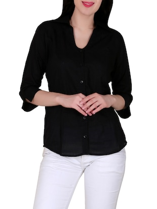 solid black cotton shirt