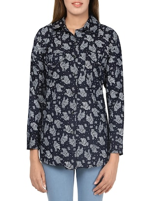 navy blue cotton regular shirt