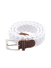 White Cotton Polyester Blend Belt - By