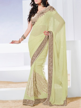 yellow chiffon embroidered saree