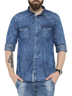 navy blue denim casual shirt -  online shopping for casual shirts