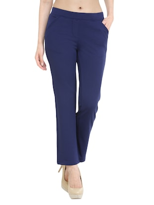 navy blue cotton flat front trouser