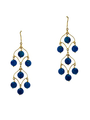 Jade & Jewels blue gold plated drop earring