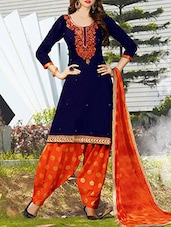 blue cotton embroidered patiyala suits unstitched suit -  online shopping for Unstitched Suits