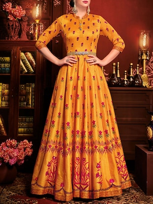 orange silk printed anarkali semi-stitched suit