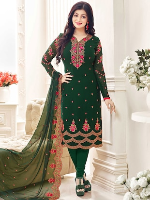 green georgette embroidered churidaar semi-stitched suit