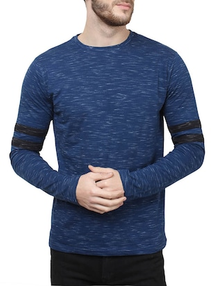 navy blue melange cotton t-shirt