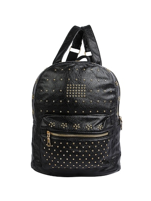 black leatherette  fashion backpack