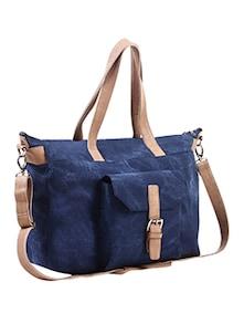 blue leatherette handbag
