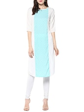 White & Sky Blue Poly Crepe Colour Block Straight Kurta - By