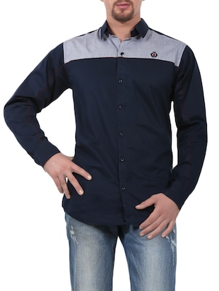 blue cotton casual shirt
