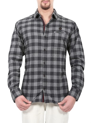 grey cotton casual shirt