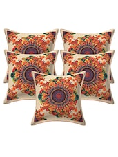 Being And Red With Traditional Rangoli Print Jute Cushion Cover Pack Of 5 Pcs - By