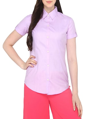 purple cotton regular shirt