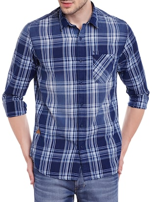 blue cotton casual shirt -  online shopping for casual shirts