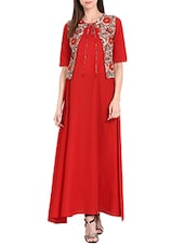 Red Cotton Solid Long Kurta With Sleevless Printed Jacket - By