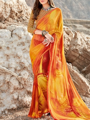 Orange Georgette Printed Saree