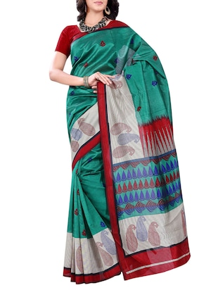 green Mulberry Silk Printed Saree
