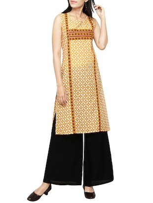 orange cotton printed straight kurta