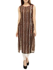 Brown  Cotton Straight Printed  Kurta - By