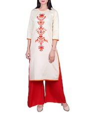 beige poly cotton straight kurta -  online shopping for kurtas