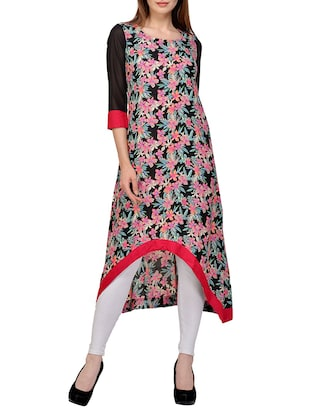 multi colored georgette high low kurta