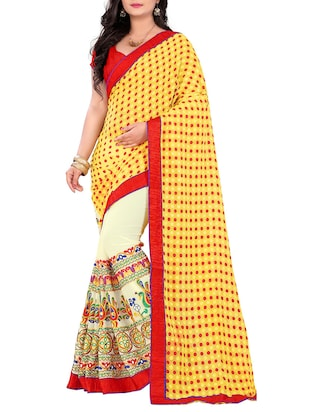 yellow & cream georgette embroidered half & half saree
