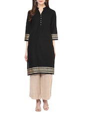 Black Cotton Solid Straight Kurta - By