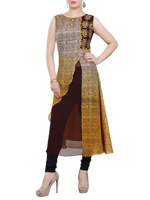 multicolor polyester embroidered high slit kurta