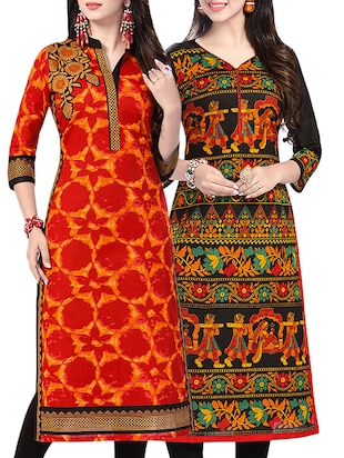 Combo (Set Of 2 ) Multi Colored Cotton Unstitched Kurta