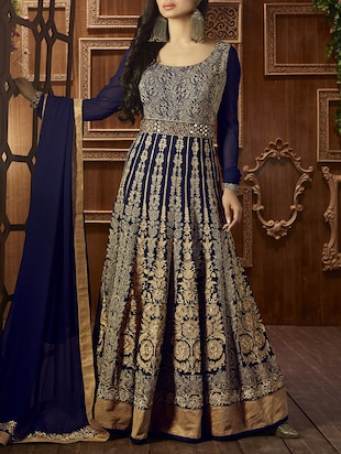 blue georgette anarkali semistitched suit