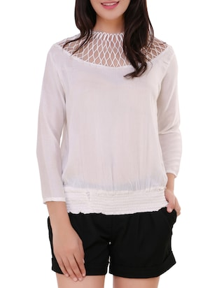 white crepe blouson top