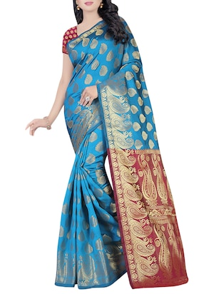 turquoise cotton silk woven saree