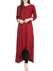 Maroon Rayon Highlow Kurta - By