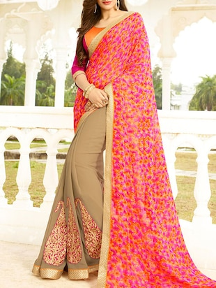 pink & beige georgette half and half saree